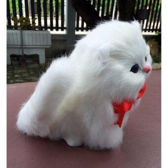 ตุ๊กตารูปแมวนั่ง ผูกโบว์สีแดง มีปุ่มกดด้านใต้ มีเสียงลูกแมวร้องสีขาว - 2