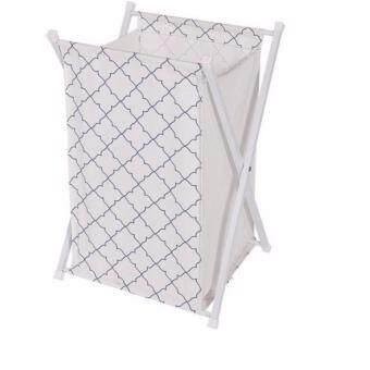 ขาย ตะกร้าผ้า ถังผ้า ตะกร้าใส่ผ้า ตะกร้าอเนกประสงค์ พับได้ทรงสี่เหลี่ยม ชนิดขาไขว้ สีขาว