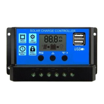 PWM 20A Solar Charge Controller 12V 24V LCD Display Dual USB Solar Panel Charger - intl