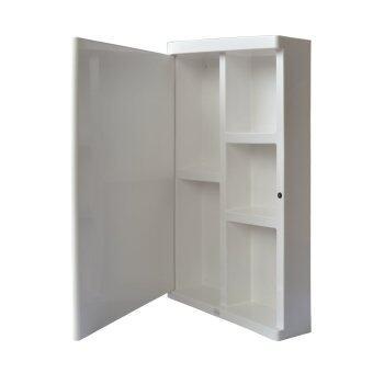 Queen Space ตู้เก็บของในห้องน้ำ พร้อมกระจก - White - 2