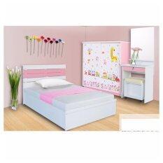 RF Furniture ชุดห้องนอน บารักก้า เตียง 3.5 ฟุต + ตู้เสื้อผ้า 120 cm + โต๊ะแป้ง60cm + ที่นอนสปริง ( สีชมพู/ ขาว )