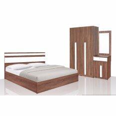 RF Furniture ชุดห้องนอSandy Set 5 ฟุต เตียง 5 ฟุต + ตู้เสื้อผ้า 3 บาน + โต๊ะแป้ง 60 cm ( สีวอลนัท/ขาว )