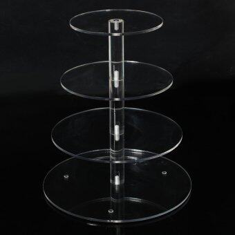 Round Acrylic 4 Tier Cupcake Cake Stand For Birthday Celebration Party Cake Shop