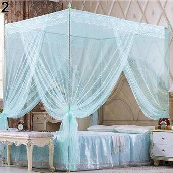 Harga Sanwood® Romantic Princess Lace Canopy Mosquito Net No Frame Bed Full (Blue)
