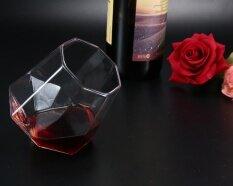 shangqing Whiskey Glass,Diamond Shaped Rotation Whiskey Clear Glass Drinking Mug,7.5x6cm - intl