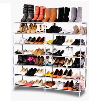 Shoe Rack ชั้นวางรองเท้า 2 บล็อค 6 ชั้น + ผ้าคลุม - สีน้ำตาล - 3