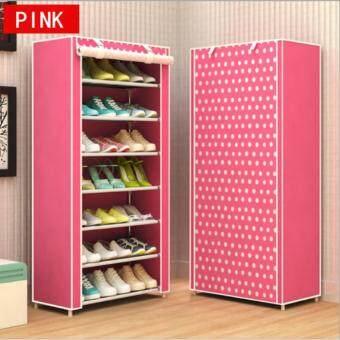 Shoes Rack ชั้นวางรองเท้า ตู้เก็บรองเท้า ตู้ใส่รองเท้า 7 ชั้น จำนวน21 คู่ (สีชมพู/Pink)