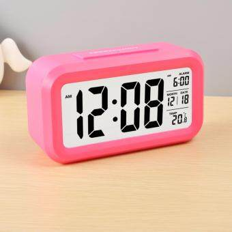 Silent Digital Alarm Clock with Time Temperature Display Night Light(Pink)