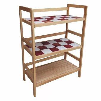 Simple Furniture ชั้นวางกระเบื้อง 18 เเผ่น (แดงสลับขาว)