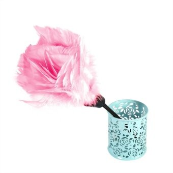 Soft Turkey Feather Duster Brush With Black Handle Home FurnitureCar Cleaning Tools (Pink)