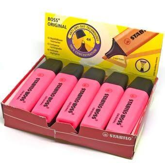 รีวิว STABILO ปากกาเน้นข้อความ สตาบิโล Boss สีชมพู 1 กล่อง (10 ด้าม)