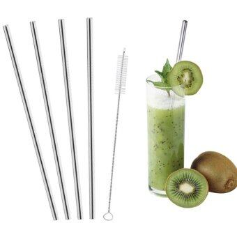 Stainless Steel Drinking Straws Reusable Metal Straws Set of 4 For 30 Oz Yeti + 1 free Cleaning Brush - intl