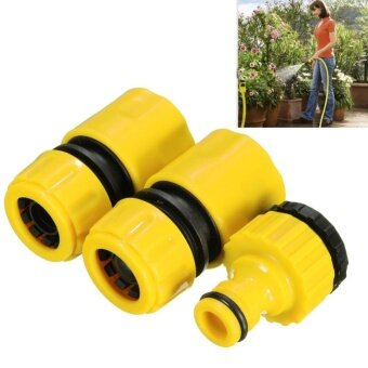 Sunshop 3PC Universal Hose Pipe Connector Quick Water Pipe AdapterFitting Set For Garden Lawn Water Tap Hose Pipe - intl
