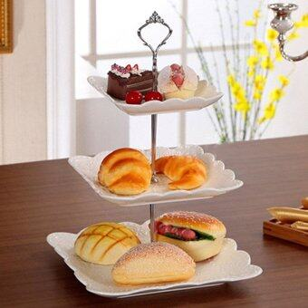 Tableware Utensil 3 Tier Cake Bread Biscuit Plate FruitholderRackfor Wedding Xmas Party (Gold) - Plates Not Included - intl