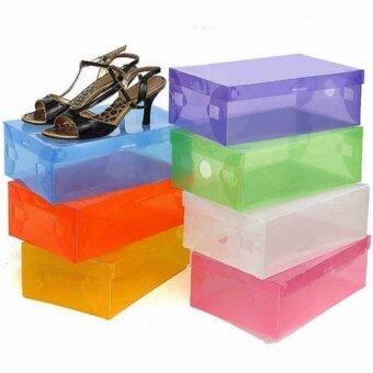 Transparent Plastic Clamshell Shoebox Stackable Foldable StorageShoe Container Purple - Intl