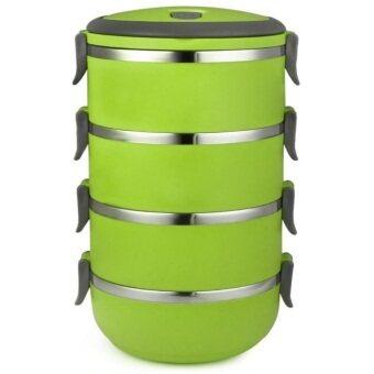 รีวิว TravelGear24 ปิ่นโต ปิ่นโตสแตนเลส สูญญากาศ 4 ชั้น ทรงกลม BentoLunch Box Food Picnic Storage (Green/สีเขียว)