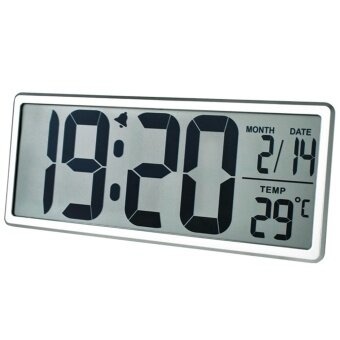 TXL Jumbo Digital Large LCD Screen Display Alarm Clock ,Wall Clock with Date/Time/Temperature Display,Snooze Button,Battery Included,Silver - intl