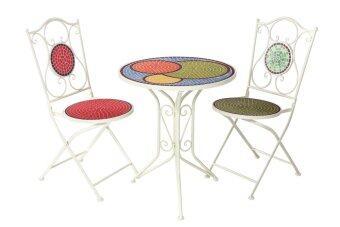 U-RO DÉCOR ชุดโต๊ะสนามโมเสค รุ่น CIRCLE (โต๊ะ 1 + เก้าอี้ 2)