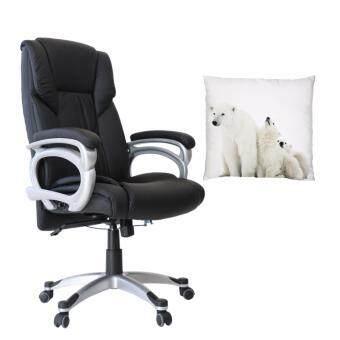 U-RO DECOR เก้าอี้สำนักงาน รุ่น HAMBURG (สีดำ) + หมอนอิงพิมพ์ลายรุ่น COLA FAMILY-A