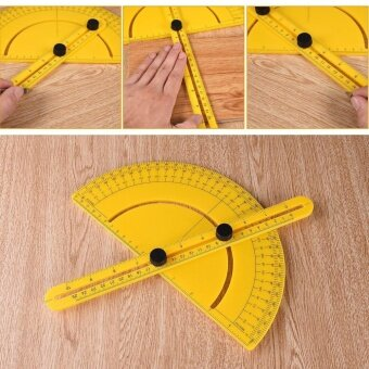 USTORE Multi-functional Semi-circular Protractor Angle Finder ArmMeasuring Ruler Yellow - intl - 3
