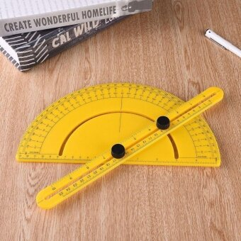 USTORE Multi-functional Semi-circular Protractor Angle Finder ArmMeasuring Ruler Yellow - intl - 4
