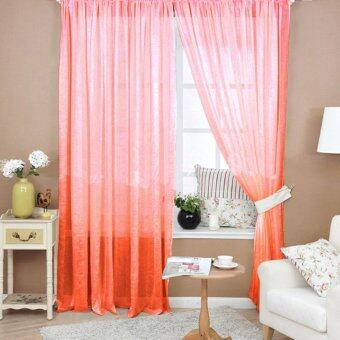 VAKIND Floral Tulle Door Window Curtain (Orange)