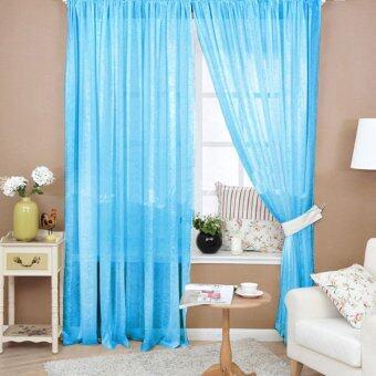 ผ้าโปร่งลายดอกผ้าป่านสี Valances ม่านประตูหน้าต่างทะเลสาบสีฟ้า