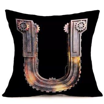 Vintage alphabet Cotton Linen Pillow Case Sofa Waist Throw Cushion Cover Home Decor - intl