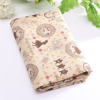 รีวิวพันทิป Vintage Europe Styles Natural Cotton Linen Fabric Cloth Sewing Craft Remnants Yellow Poker Pocket Watch Girl