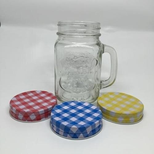Vintage Glass โหลแก้ว วินเทจ มีหูจับ ฝาลายจุด ขนาด 600 ml. (12ใบ คละสี)
