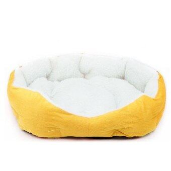 Harga Warm Washable Fabric Fleece Plush Mat Pad Puppy Pet Cat Dog HouseBasket Bed Yellow