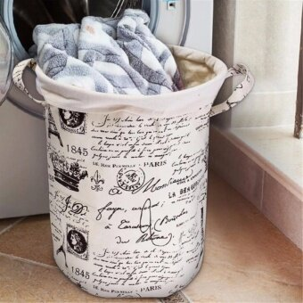 Waterproof Cotton Linen Laundry Basket Storage Bag Washing Clothes Hamper Sorter Coffee Tower - intl