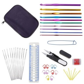 Whyus-22 Pcs Aluminium Crochet Hooks Knitting Needles Set StitchesKnitting Craft Tools - intl