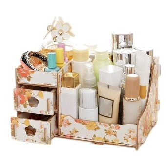 Wooden Jewelry Storage Cosmetic Box Handmade DIY Assembly Organizer( color:9 size:L ) - intl