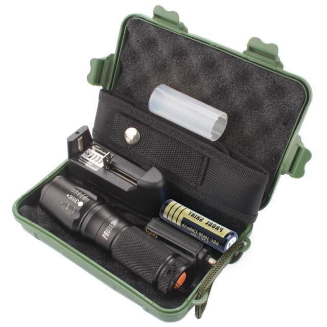 Harga X800 Zoomable XML T6 LED Tactical Police Flashlight+Charger+Case -intl