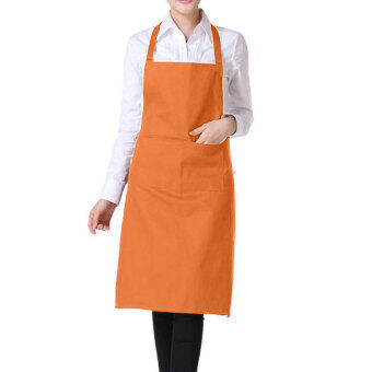 YBC Fashion Women Light Weight Polyester Kitchen Apron Orange -intl