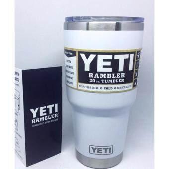 YETI Rambler แก้วเก็บความเย็นนาน 24 ชั่วโมง ขนาด30ออนซ์ สีขาว