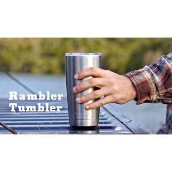 YETI Rambler Tumbler แก้วเยติ แก้วน้ำเก็บอุณหภูมิ YETI แก้วเก็บร้อน แก้วเก็บความเย็น แก้วกาแฟ แก้วเบียร์ ขนาด 20 ออนซ์ (สีเงิน แถมฟรี หลอดสแตนเลส 1 อัน)