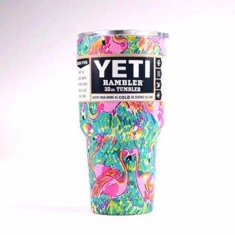 YETI Rambler Tumbler แก้วเยติ แก้วน้ำเก็บอุณหภูมิ แก้วเก็บความเย็น YETI แก้วเก็บร้อน แก้วกาแฟ แก้วเบียร์ ขนาด 30 ออนซ์ (ฟามิงโก้)