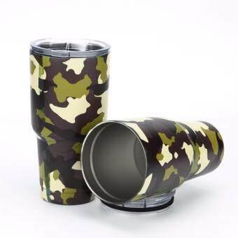 YETI Rambler Tumbler แก้วเยติ แก้วน้ำเก็บอุณหภูมิ YETI แก้วเก็บร้อน แก้วเก็บความเย็น แก้วกาแฟ แก้วเบียร์ ขนาด 30 ออนซ์ (CAMO-GREEN-YELLOW)