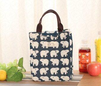YHL กระเป๋าเก็บอุณหภูมิ กระเป๋าเก็บความร้อน-เย็น กระเป๋าใส่อาหารอเนกประสงค์ จัดระเบียบ Lunch Bag Picnic Bag Hot Bag Cooler Bag(ลายหมีขาว)