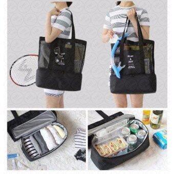 YHL กระเป๋าเก็บอุณหภูมิ แฟชั่น กระเป๋าเก็บความร้อน-เย็นกระเป๋าเดินทาง ใส่อาหาร อเนกประสงค์ จัดระเบียบ Lunch Bag Picnic BagHot Bag Cooler Bag (สีดำ)
