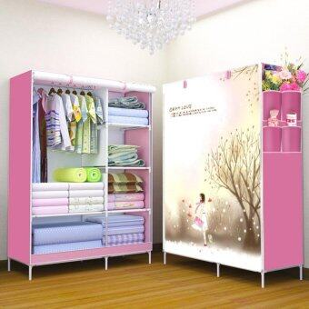 Harga Yifun Non-woven fabric folding wardrobe reinforcement combination 3D pattern-Ohmylove(Pink)