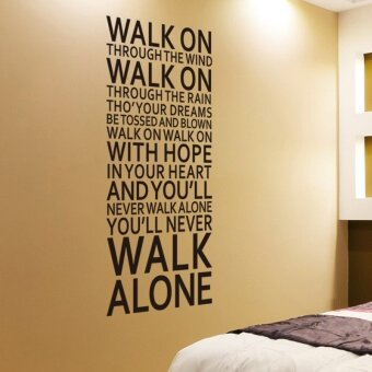 Harga you'll never walk alone inspirational quotes wall stickers roomdecoration home decals vinyl art liverpool team song lyrics - intl