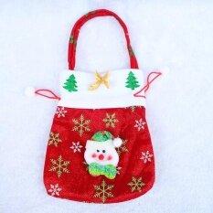 YUNMIAO Christmas Drawstring Gift Bag Sweet Fabric Sack Pocket Xmas 24*20cm Christmas Santa A Color:Christmas Snowman C - intl