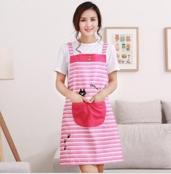 ZH creative kitchen anti-fouling and oil-proof fashionable checked apron(red) - intl