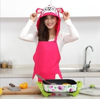 ZH kitchen dustproof anti-oil creative household hooded apron(red) - intl