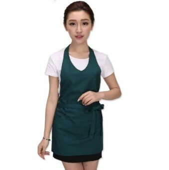 ZH women's fashion cafe milk tea kitchen pure cotton waiters working apron(green) - intl