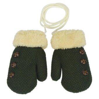 พวกเด็ก ๆ เก็บใบไม้ที่อบอุ่นถุงมือสำหรับ 0 - 12เดือนสีเขียว
