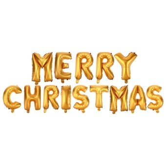 1 Set Merry Christmas Letters Foil Balloon Party Festival Decoration(Gold) - intl